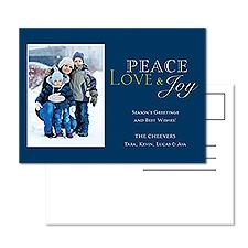 Peace Love Joy Photo Holiday Postcard