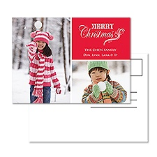Merry Flourish Photo Holiday Postcard