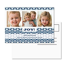 Joyful Pattern Photo Holiday Postcard