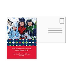 Bold Dots Photo Holiday Postcard