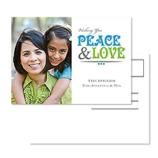 Peace and Love Photo Holiday Postcard