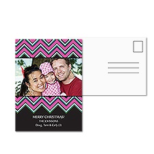 Pink Chevron Photo Holiday Postcard