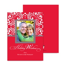Filigree Wishes Photo Holiday Card