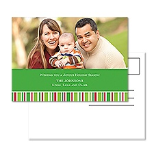 Seasonal Stripe Photo Holiday Postcard