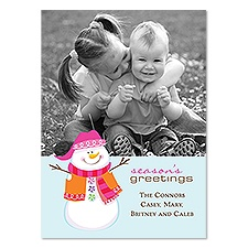 Bright Snowman Photo Holiday Card