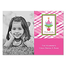 Pink Plaid Photo Holiday Card