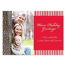 Classic Stripe Photo Holiday Invitation - Cherry