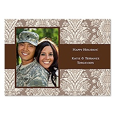 Damask Greetings Photo Holiday Card