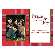 Peaceful Plaid Photo Holiday Card - Cherry