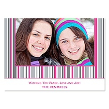 Jolly Stripes Photo Holiday Card - Fuchsia
