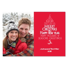 Wishes Tree Photo Holiday Card - Cherry