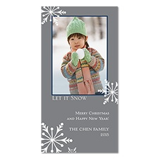 Snow Time Photo Holiday Card - Pewter