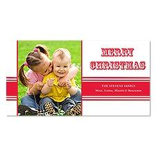 Bold Band Photo Holiday Card - Cherry