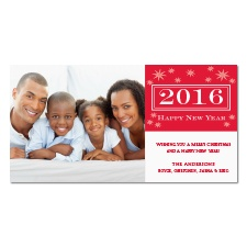 Starry New Year Photo Holiday Card - Cherry