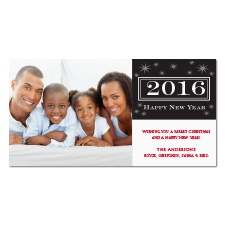Starry New Year Photo Holiday Card - Black