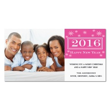 Starry New Year Photo Holiday Card - Fuchsia