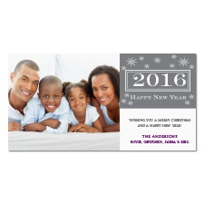 Starry New Year Photo Holiday Card - Pewter