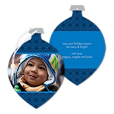 Little Mosaic Photo Holiday Card Ornament - Midnight