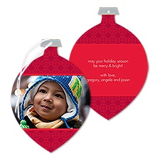 Little Mosaic Photo Holiday Card Ornament - Merlot