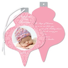 Little Damask Photo Holiday Card Ornament - Salmon