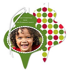 Holiday Dots Photo Holiday Card Ornament