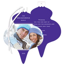Festive Shape Photo Holiday Card Ornament - Purple