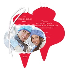 Festive Shape Photo Holiday Card Ornament - Cherry