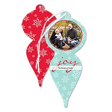 Joyful Snow Photo Holiday Card Ornament