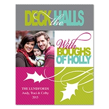 Boughs of Holly Photo Holiday Magnet