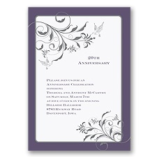 Elegant Flourishes Anniversary Invitation - Raisin
