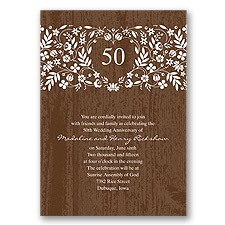 Woodland Flowers Anniversary Invitation - Espresso