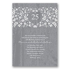Woodland Flowers Anniversary Invitation - Pewter