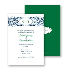 Ornate Monogram Engagement Party Invitation