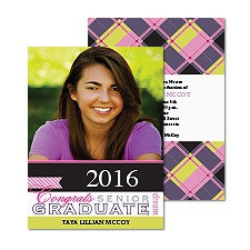 Grad Plaid Photo Graduation Announcement - Fuchsia