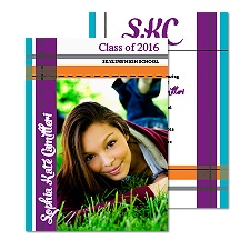 Monogram Stripes Photo Graduation Announcement