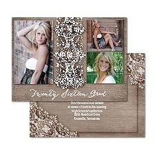 Rustic Lace Photo Graduation Announcement