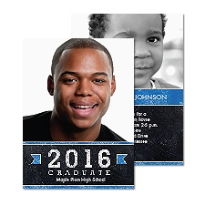 Mod Chalkboard Photo Graduation Announcement - Blue