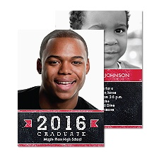 Mod Chalkboard Photo Graduation Announcement - Cherry