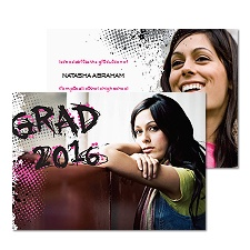 Graffiti Grad Photo Graduation Announcement - Fuchsia