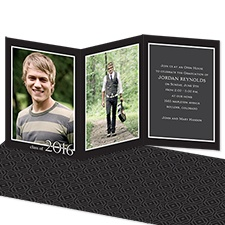 Artistic Black Photo Graduation Announcement