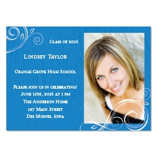 Little Swirls Photo Graduation Announcement - Blue