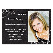 Little Swirls Photo Graduation Announcement - Black