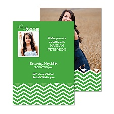 Chevron Fashion Photo Graduation Announcement - Grass