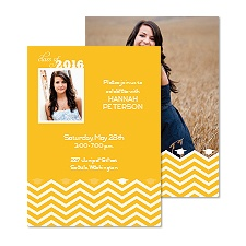 Chevron Fashion Photo Graduation Announcement - Marigold