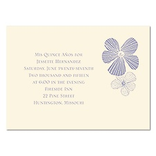 Sketched Flowers Petite Quinceanera Invitation - Ecru