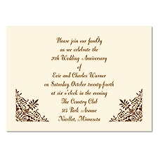 Damask Border Petite Anniversary Invitation - Ecru