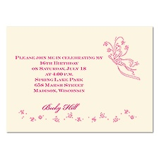 Romantic Butterflies Petite Sweet 16 Invitation - Ecru