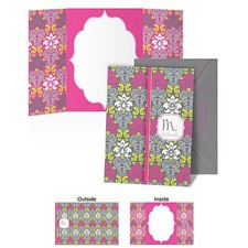 Retro Damask Note Card