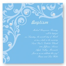 Flourish Baptism Invitation - Cornflower