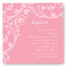 Flourish Baptism Invitation - Salmon